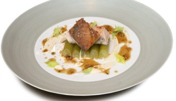 Guinea hen with celery root puree, braised celery, and pan jus