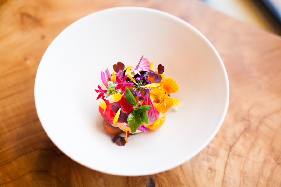 Smyth's tomato-peach sorbet with spicy flowers