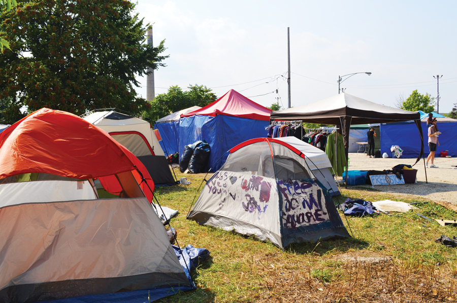 The tent city at Freedom Square