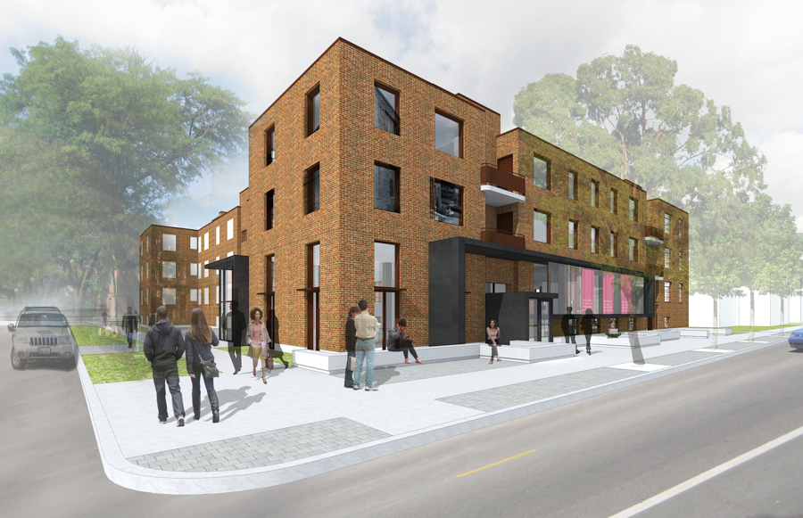 Rendering of the exterior of the National Public Housing Museum building