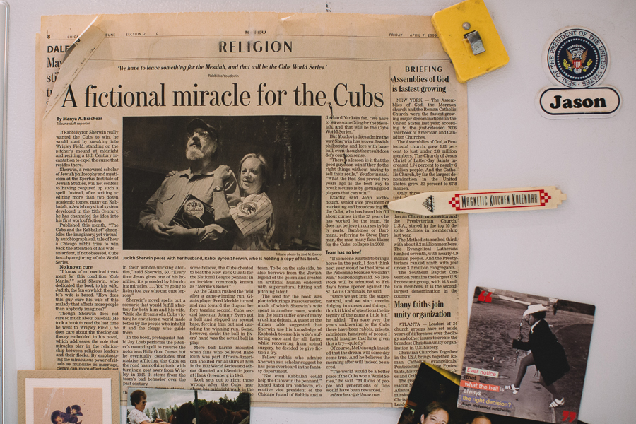 A clipping from a <i>Tribune</i> article about <i>The Cubs and the Kabbalist</i>
