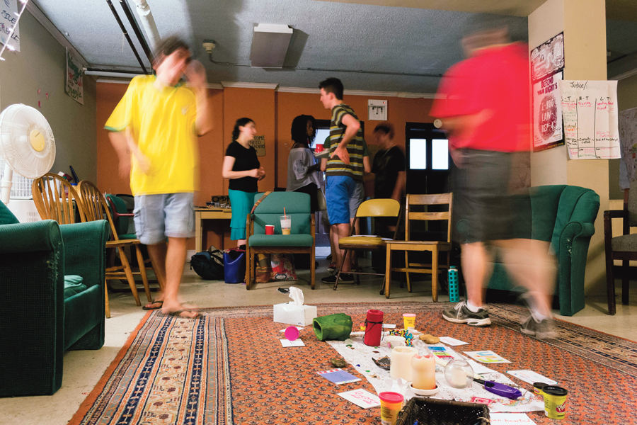 """Drawing on indigenous traditions, participants in a Rogers Park peace circle use """"talking pieces"""" to designate the speaker at any given moment."""