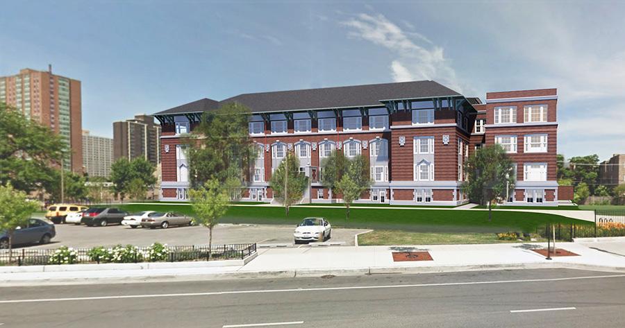 Rendering of the Stewart School Lofts