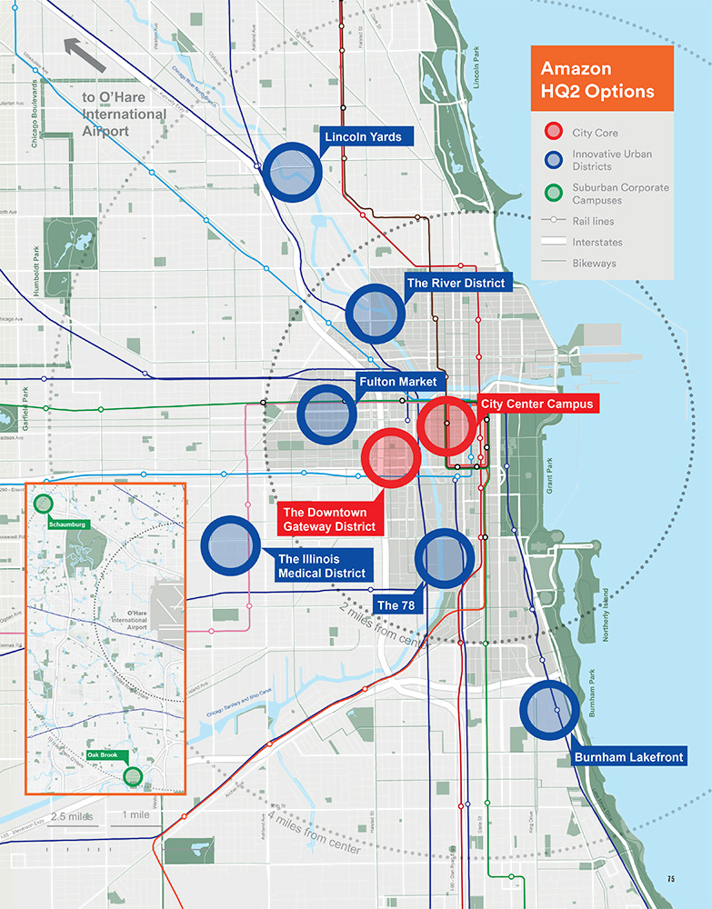 Proposed Chicago sites for Amazon's HQ2 as included in the official bid
