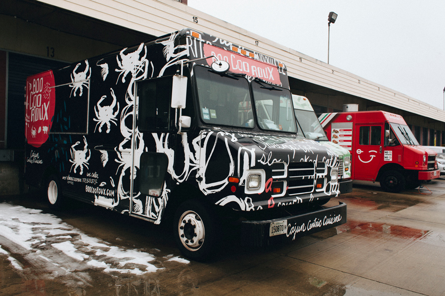 Trucks outside the Chicago Smoke Kitchen, the city's only dedicated food truck commissary, at Cermak and Throop