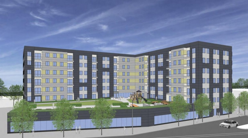 A rendering of the proposed 100-unit affordable housing development