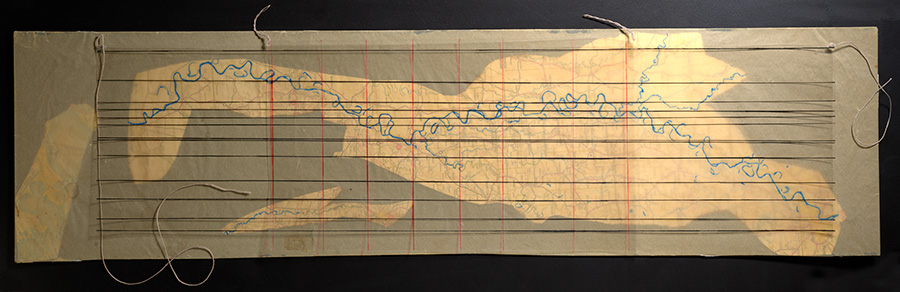 """Philip Corner's 1954 piece <i>Mississippi River South of Memphis</i>, also part of John Cage's <i>Notations</i> project, asks performers to """"read"""" a traced map of the titular river as though it were sheet music. Horizontal lines indicate pitch; vertical lines, time."""