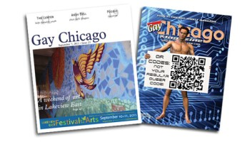 <i>Gay Chicago</i>'s reformatted cover (left) turned the magazine into a tabloid newspaper.