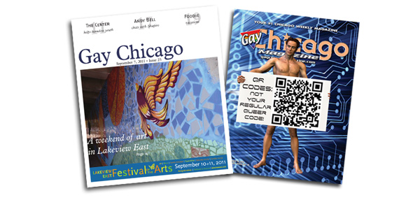 Gay Chicago's reformatted cover (left) turned the magazine into a tabloid newspaper.