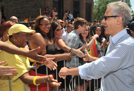 Straight mayor Rahm Emanuel poked into the gay pride parade this year