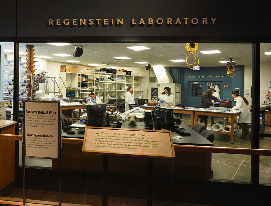 The conservation team for the Field Museum's Native American Journeys project cares for roughly 300 deinstalled cultural materials in the Regenstein Lab.