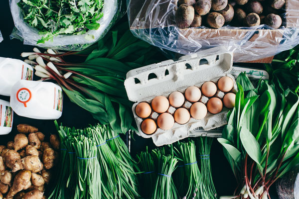 A selection of products that Chicago-based food hub Local Foods Grocer offers to chefs.