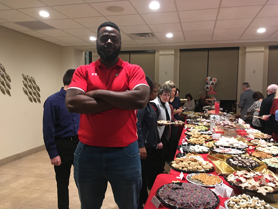 Cookie table security provided by Youngstown State University football team's defensive line