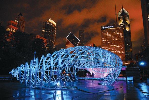 Zaha Hadid's Burnham Centennial pavilion, still under construction