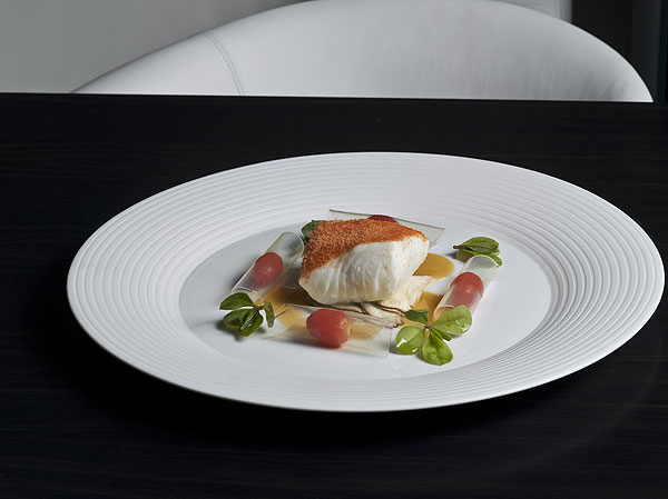 Halibut with tomato-ginger Chablis at L2O