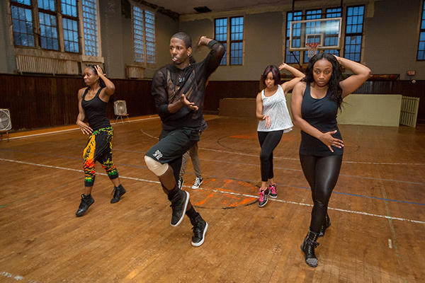 Asiel Hardison (second from left) rehearsing with Muntu dancers at First Baptist Church