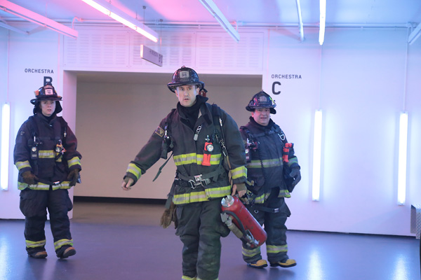 Chicago firefighters on the scene at the Harris Theater for Music and Dance last month, after an electrical fire broke out