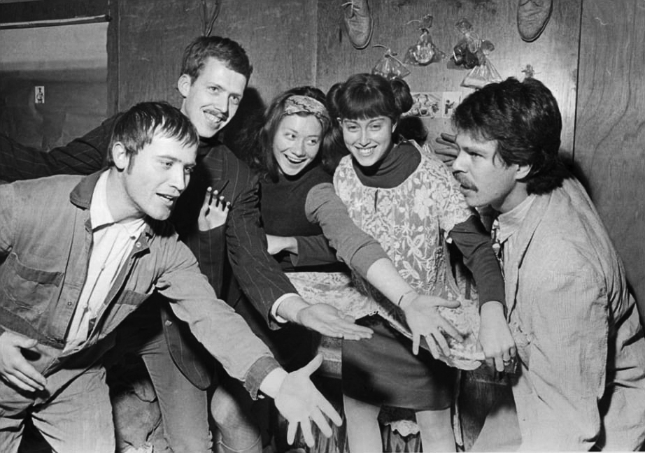 Karl Wirsum (far left) in 1967 with fellow artists Art Green, Gladys Nilsson, Suellen Rocca, and Jim Nutt