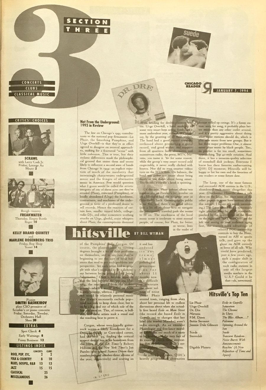 Bill Wyman's Hitsville column of January 7, 1994. Click to enlarge.