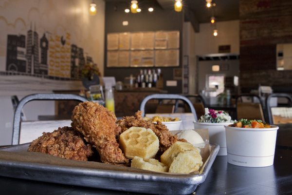 Double-buttermilk-battered fried chicken comes with honeycomb-and-honeybee-embossed corn muffins.