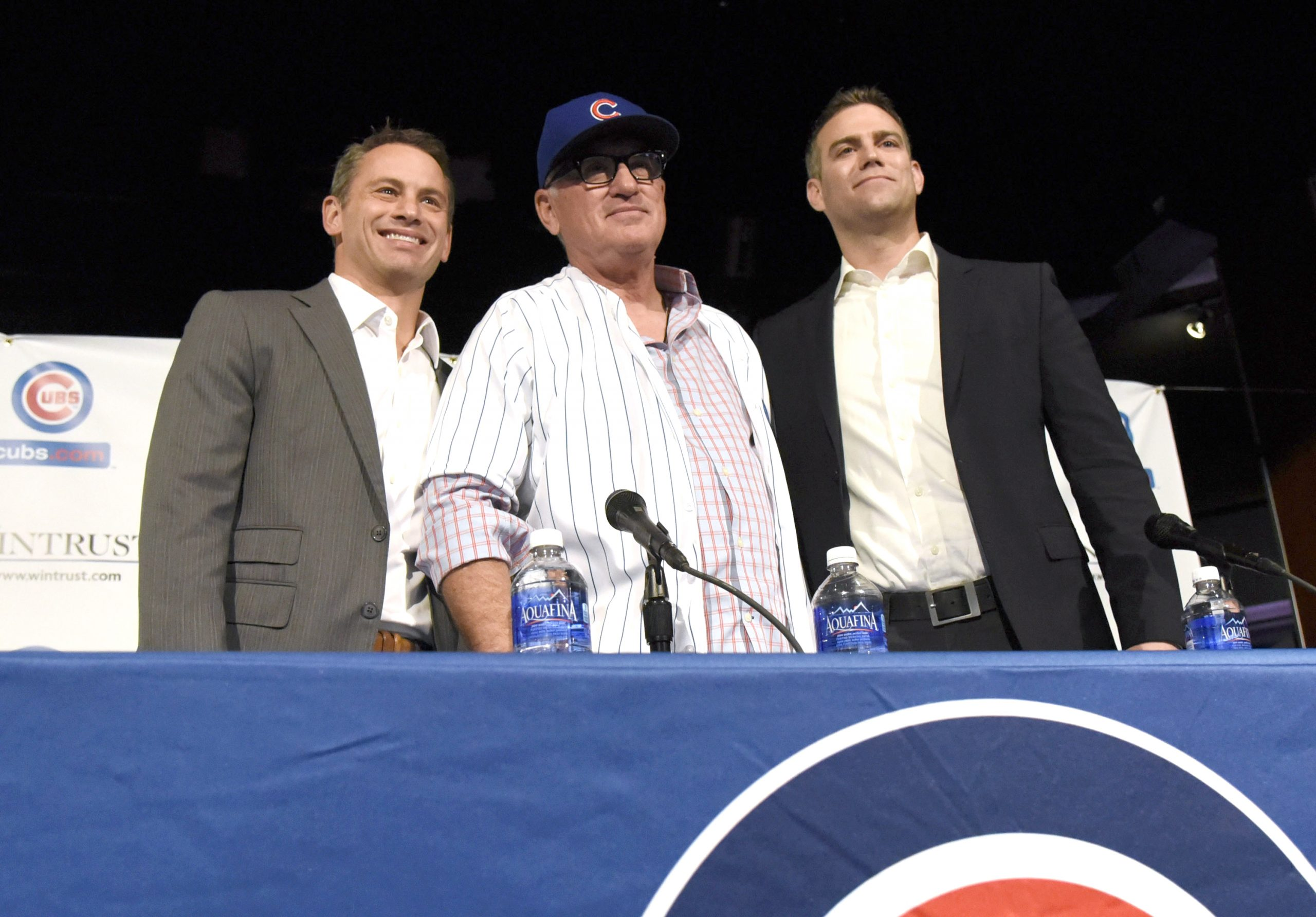 Cubs' general manager Jed Hoyer (left) and team president Theo Epstein (right)  introduced Maddon as Cubs manager last October. Maddon owns a camper he named Eddie, where he played host to Hoyer and Epstein before he was hired.