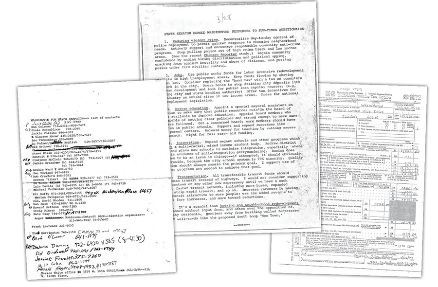 The 1977 campaign's contact list; Washington's responses to a <i>Sun-Times</i> editorial board questionnaire; Washington's income tax return from 1972, released to the press as his failure to file for four years became a campaign issue