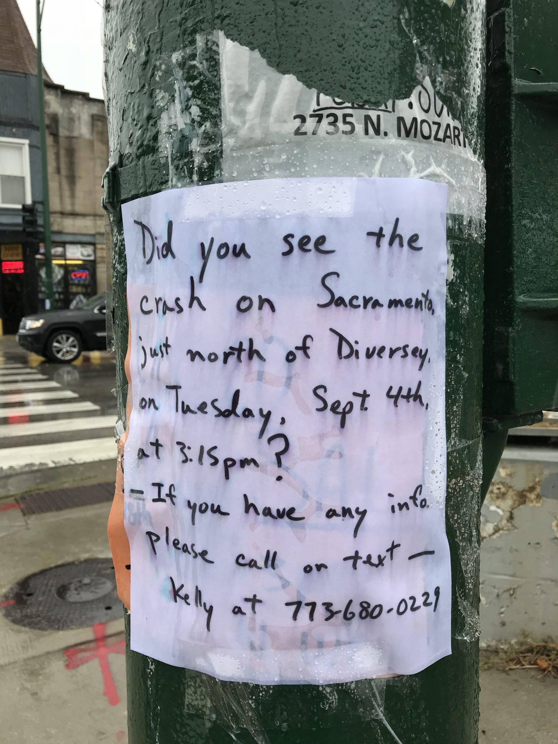 Flyer posted by Diversey and Sacramento in Logan Square, where the driver of a stolen vehicle seriously injured a female cyclist.