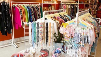 Luvsick plus size vintage clothing display at Lost Girls Vintage in Logan Square