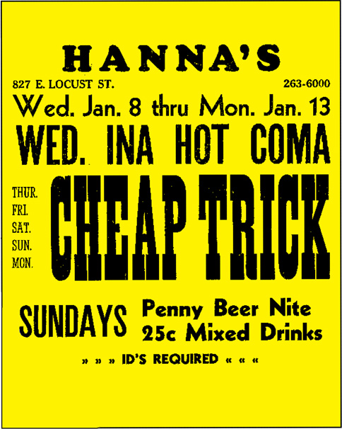Humpin' Hanna's in Milwaukee was one of the regional clubs Cheap Trick regularly played.