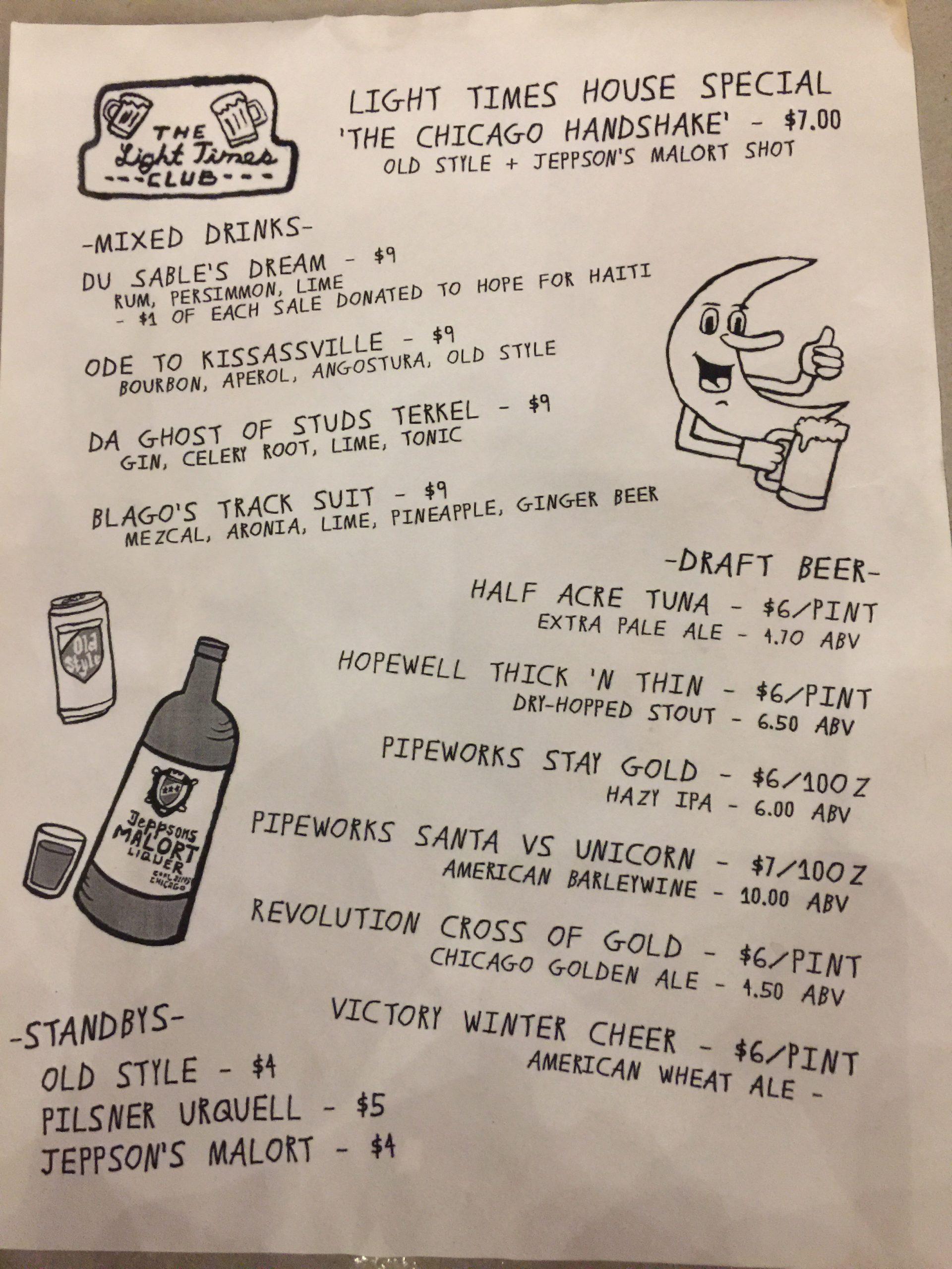 The drink menu at Light Times Club