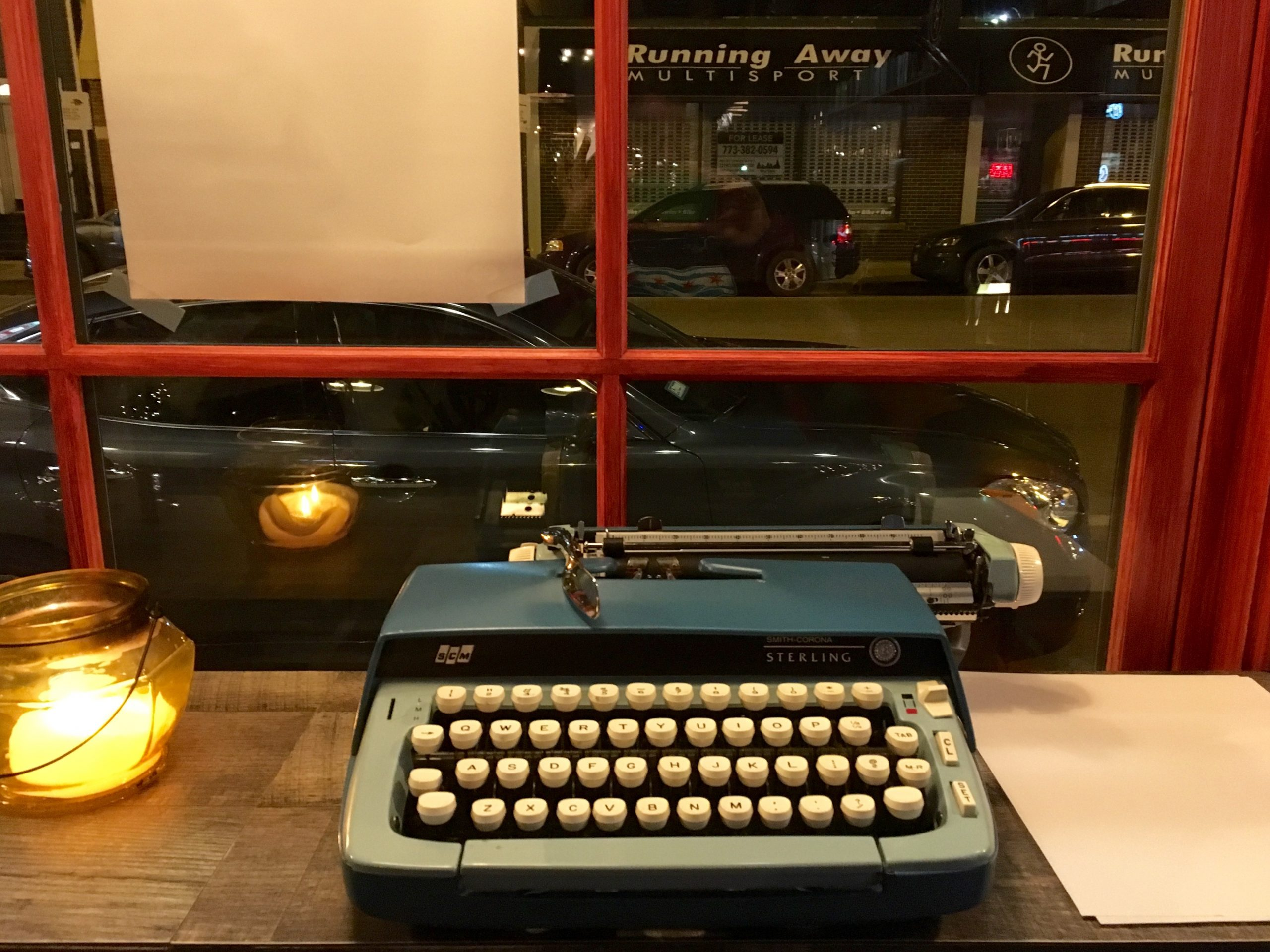 Patrons are encouraged to write with a provided typewriter.