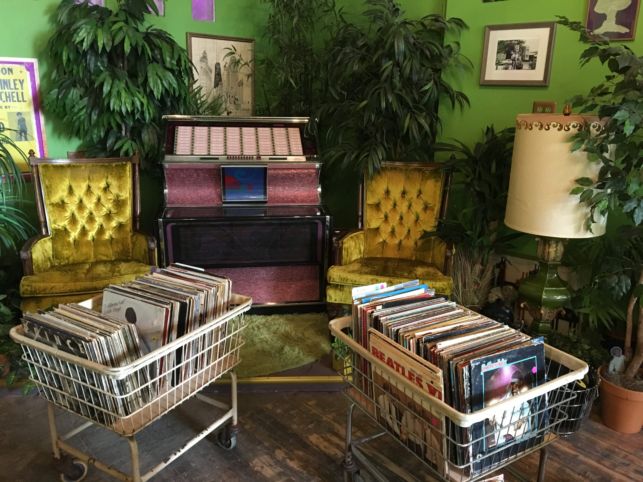 Electric Jungle's vibe is half record store, half living room (because few of us can afford a living-room jukebox).