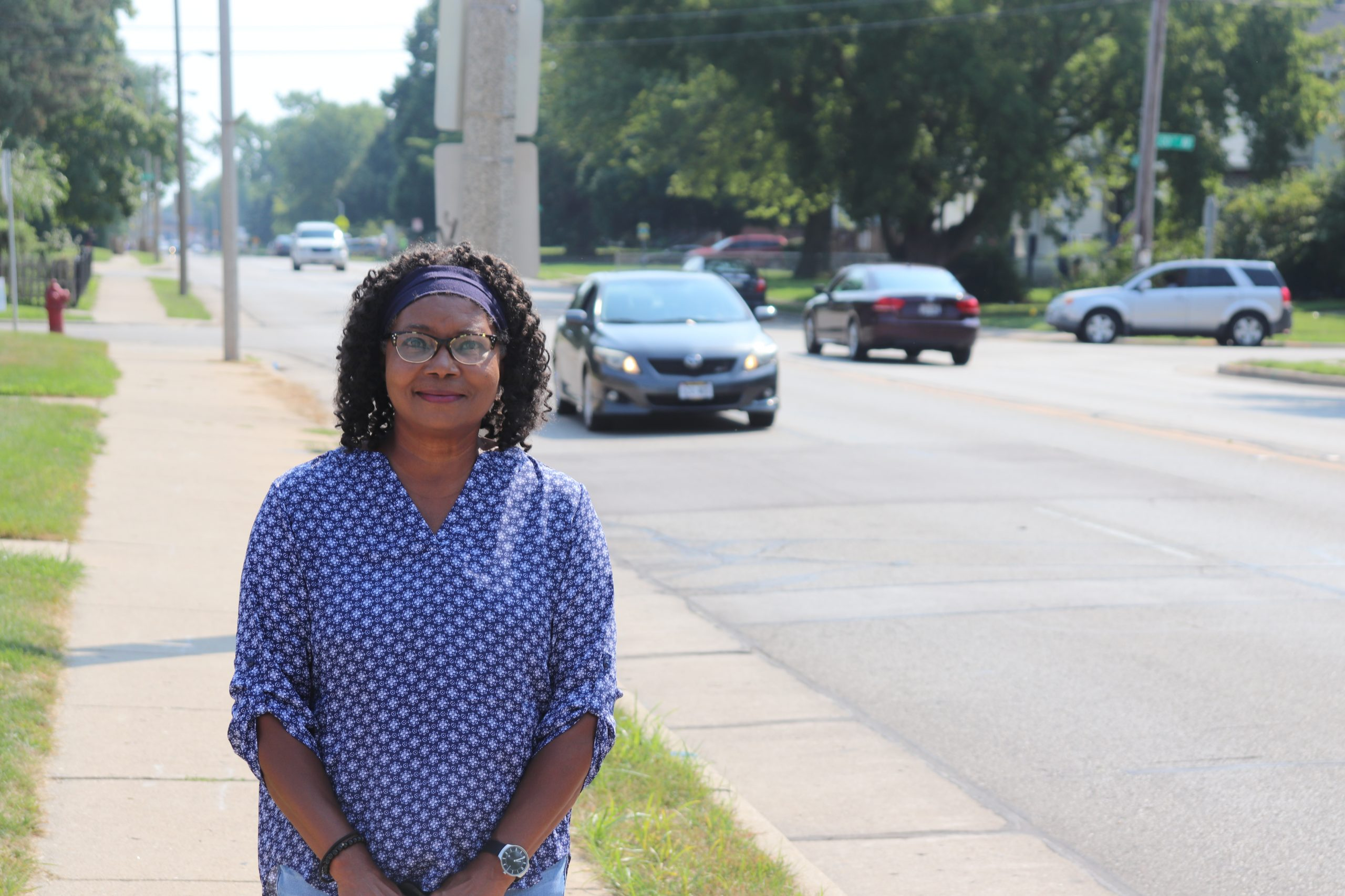 Adelene Greene stands at the intersection of 60th street and 20th avenue in Kenosha on Wednesday, August, 26, 2020.