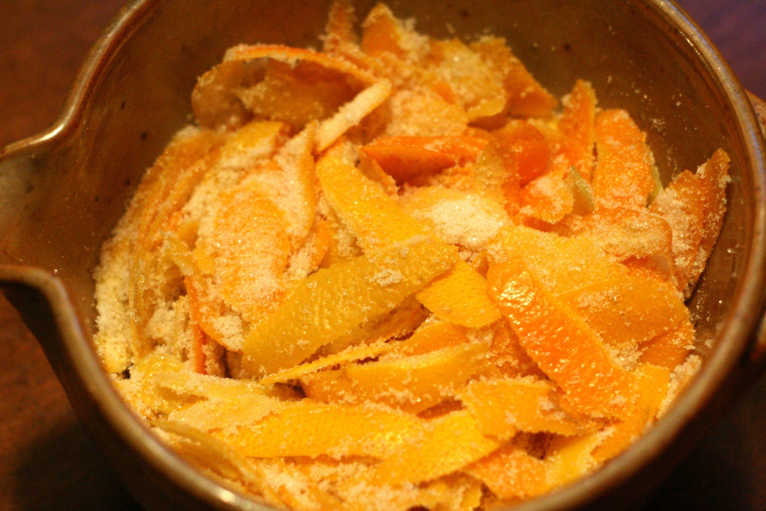 Citrus peels and sugar, the two ingredients in oleo-saccharum