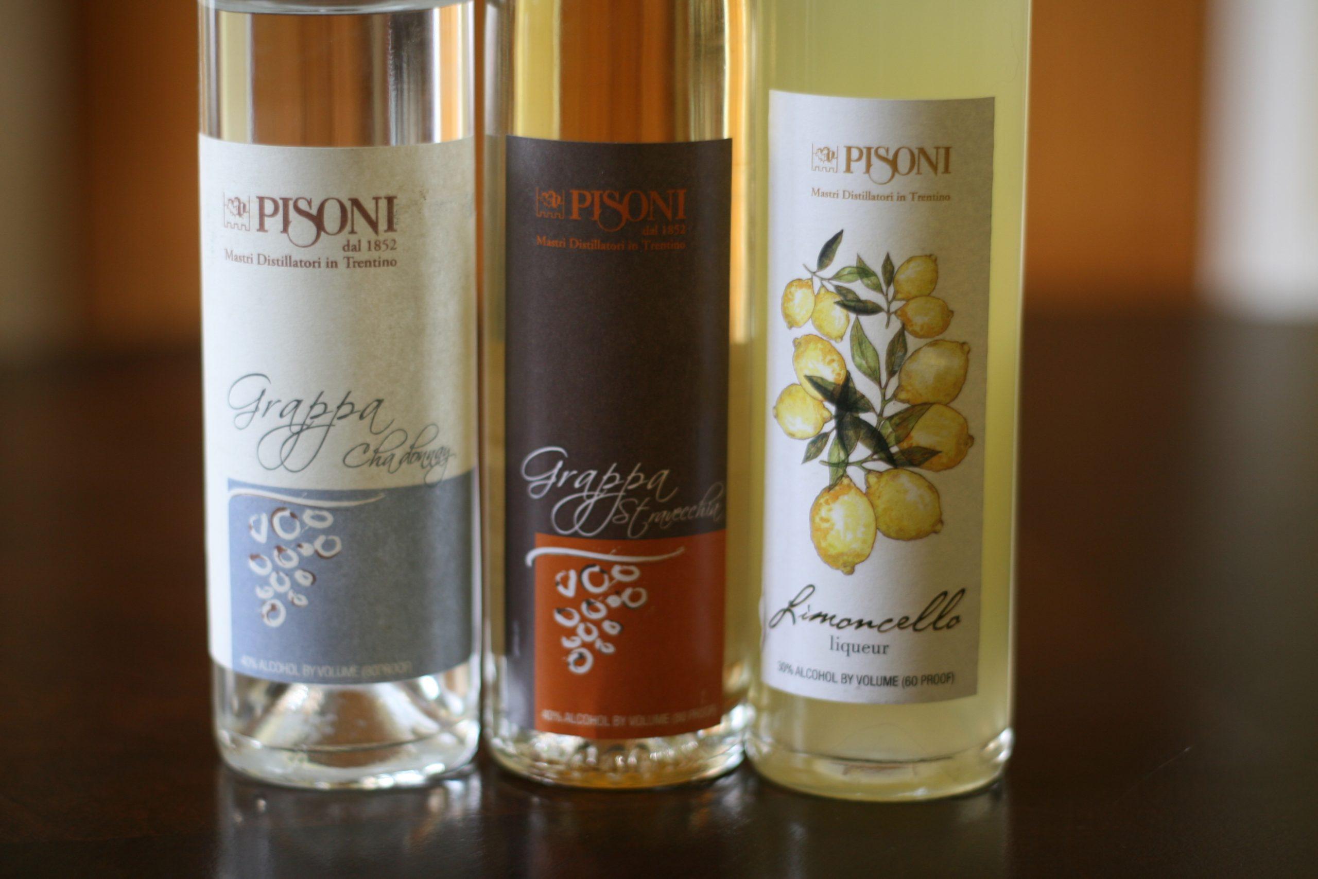Pisono grappas and limoncello