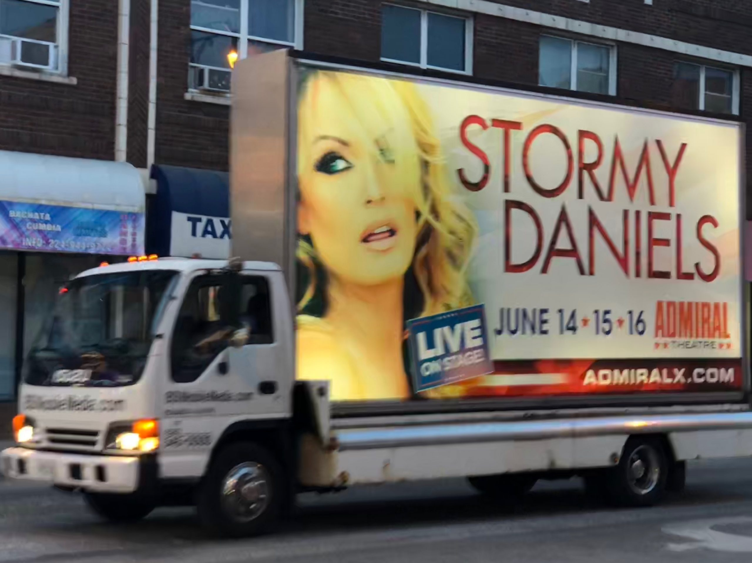 Ads for Stormy Daniels's show could be seen around the city.