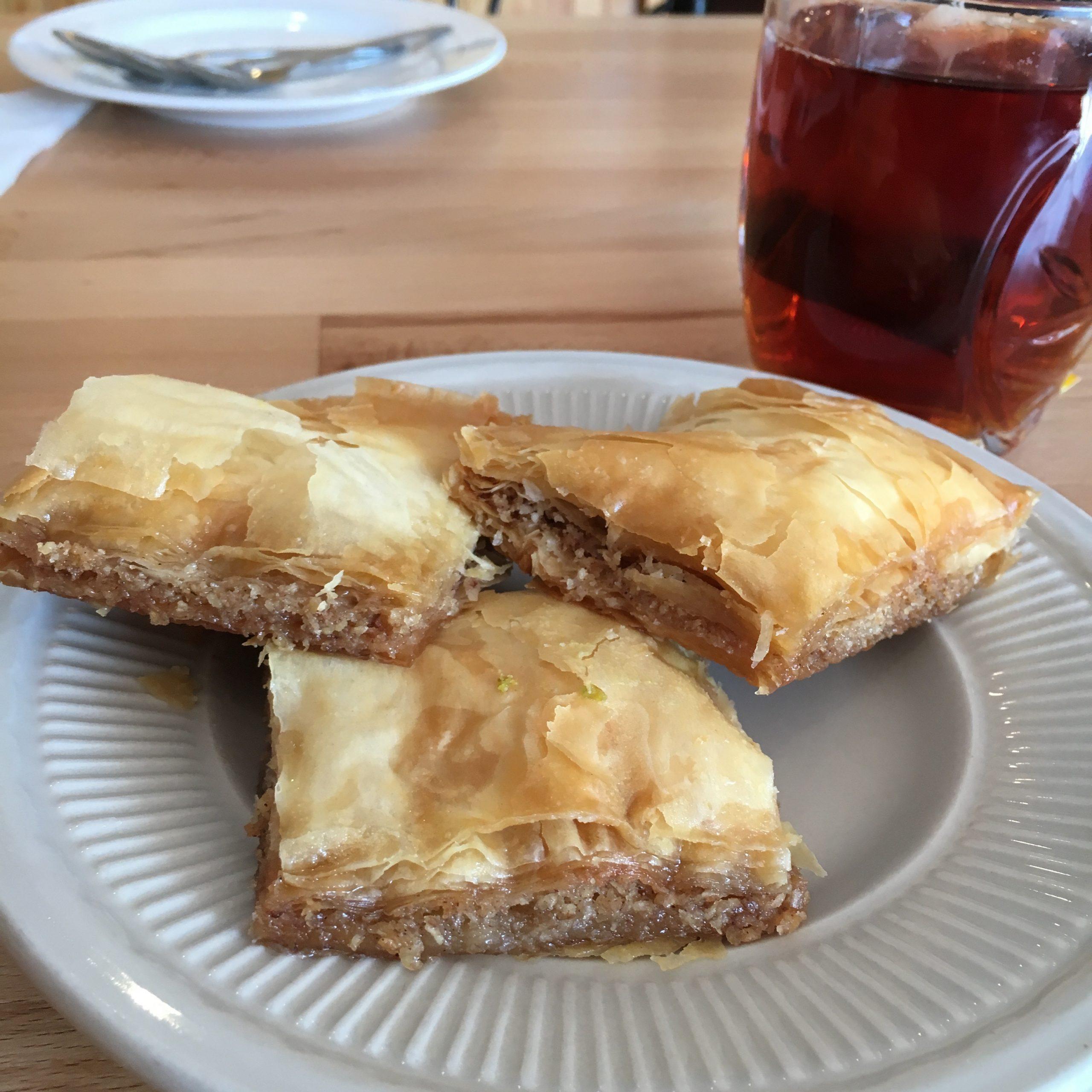 Complimentary baklava, Karam Grill