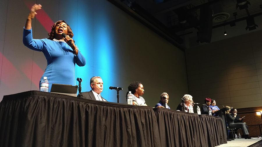 Dorothy Brown (left) speaks at the mayoral candidate forum organized by the Chicago Housing Initiative on December 11, 2018.