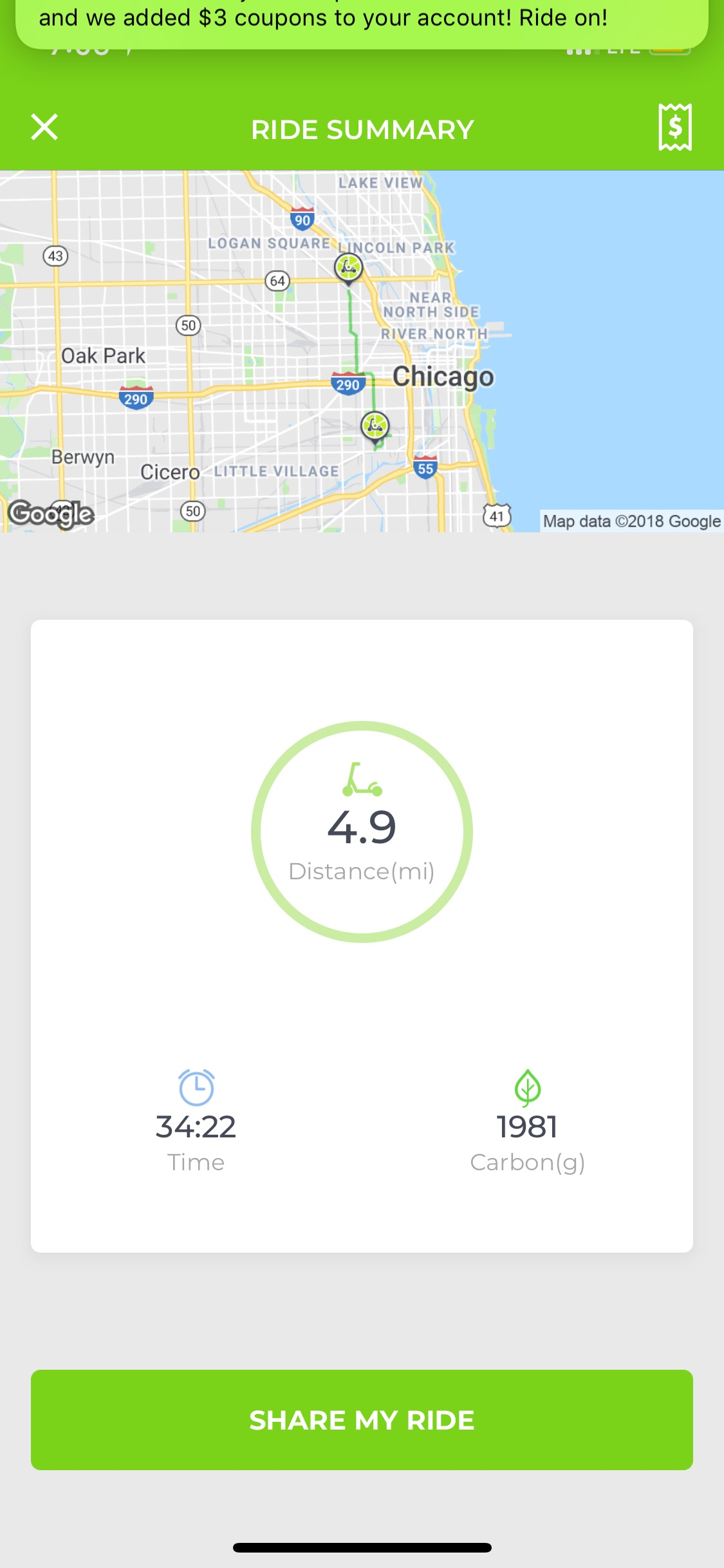 My Lime-S route from Fiesta Del Sol in Pilsen to Wicker Park Fest. The ride cost $8.25 for almost five miles.