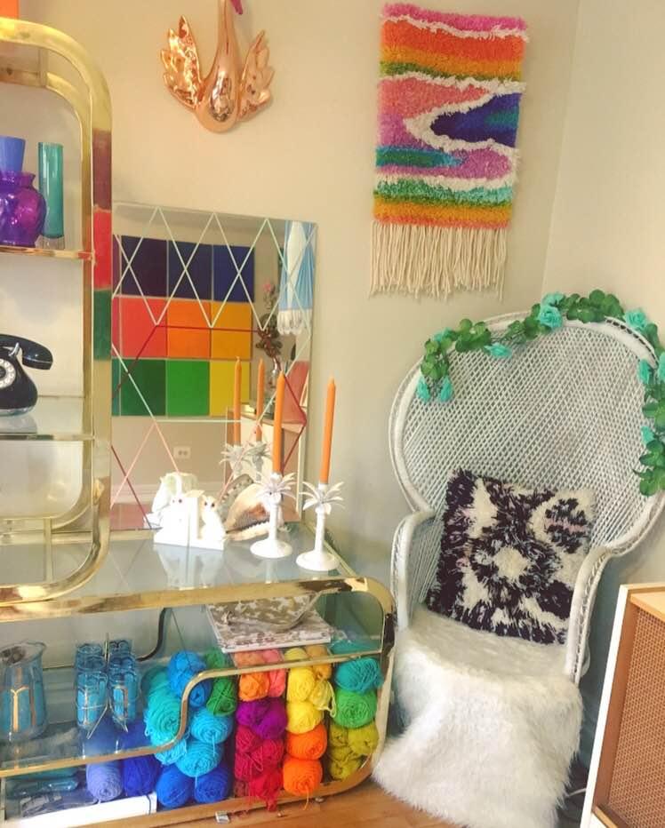 Sara Basgall's home—70s feel, new-millennium colors