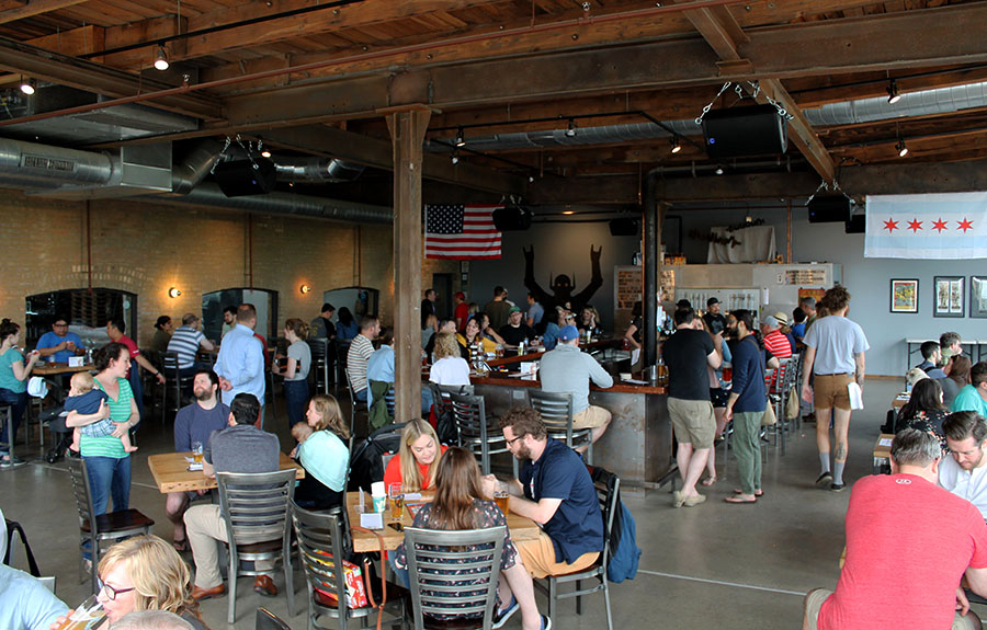 The Metropolitan taproom on a weekend afternoon in June. How many dogs and babies can you spot in this picture?