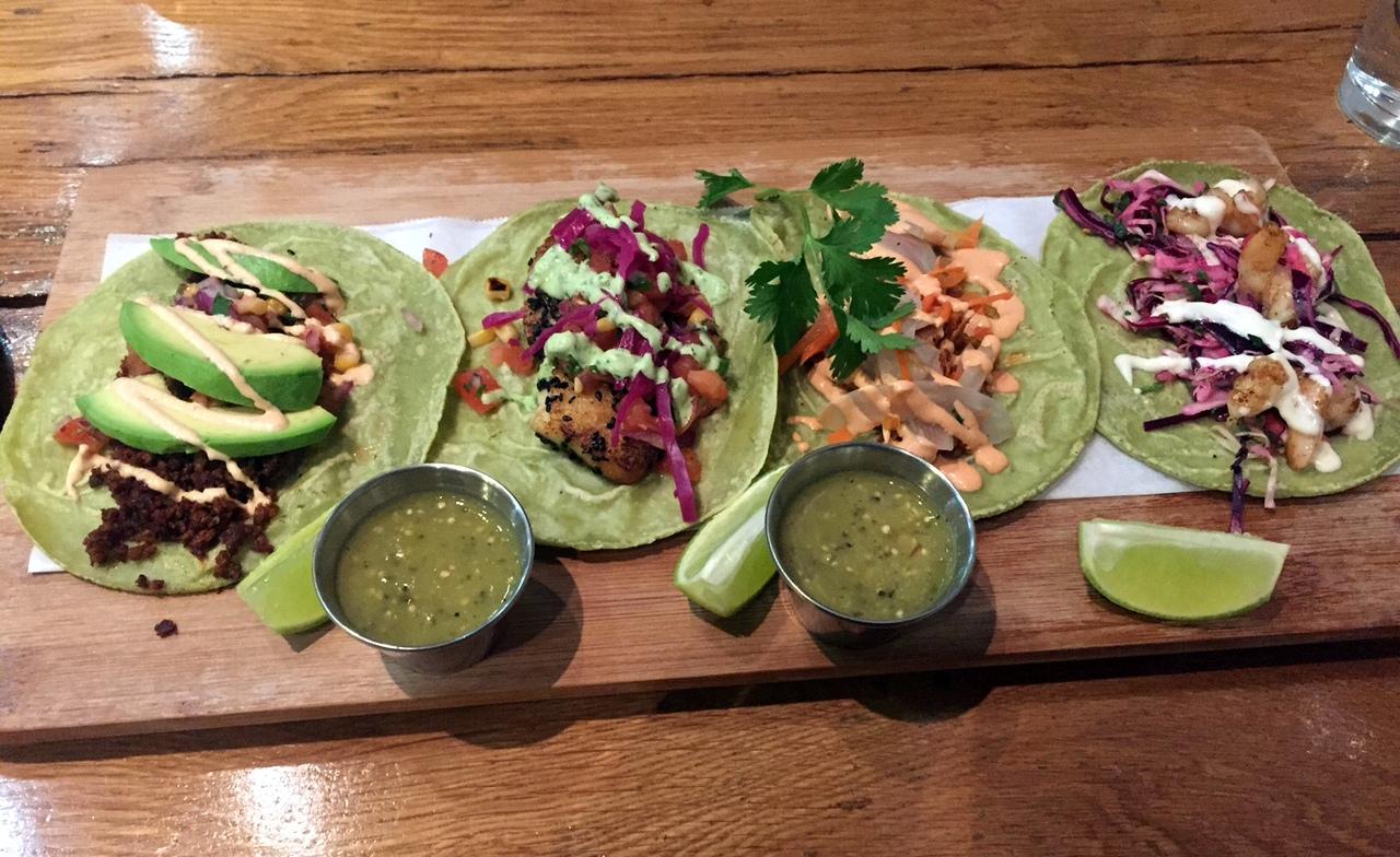 From left: chorizo, fish, duck, and shrimp tacos
