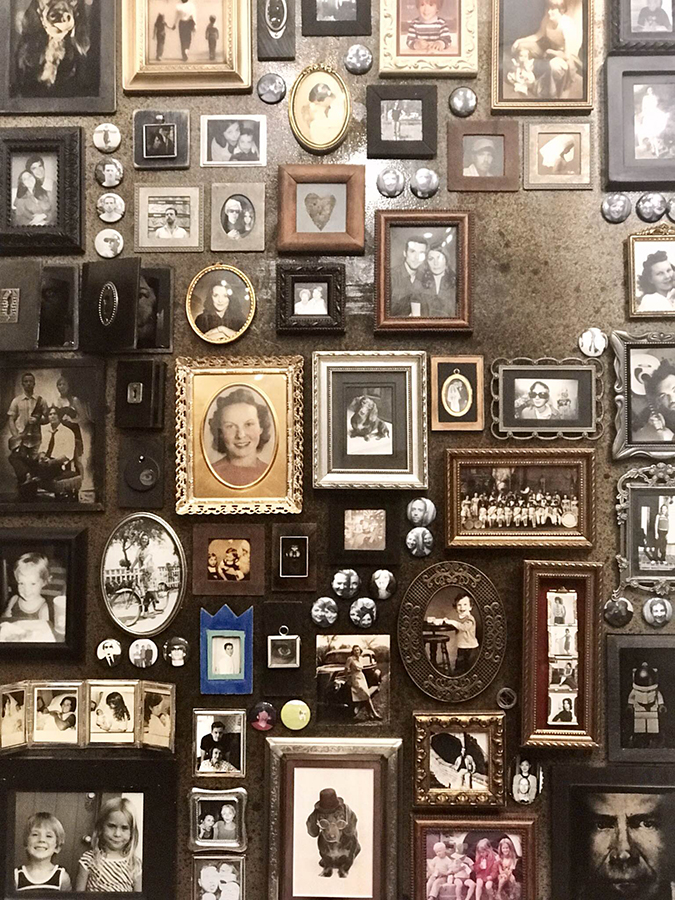 A mural of Jansen's family photos in tintype