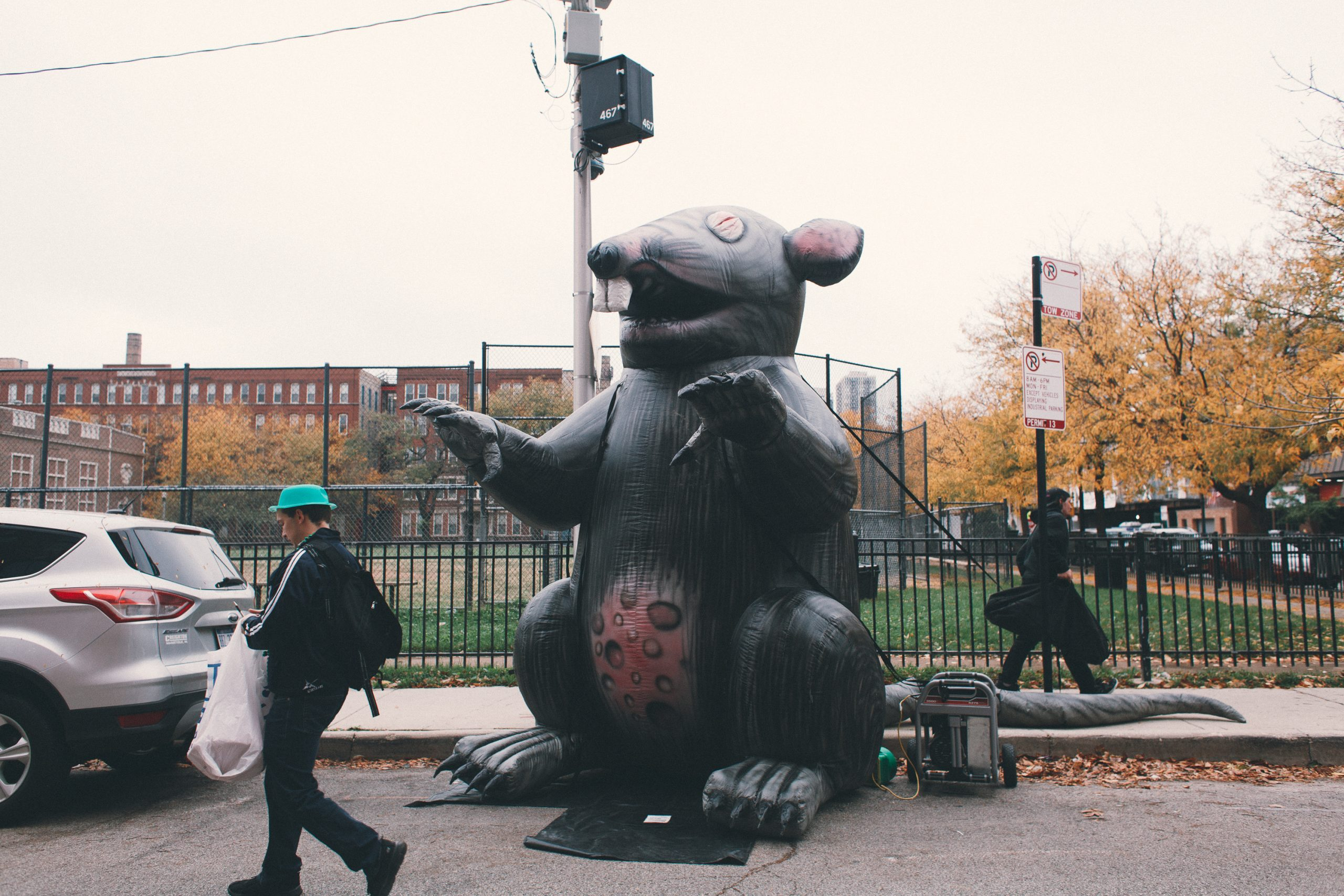Stinky the Riv Rat keeps an eye on the protest.