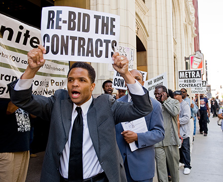 U.S. Rep Jesse Jackson Jr. outside Metra headquarters to protest the lack of minority hiring on the Englewood Flyover project.