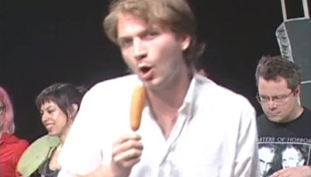 Jimmy Whispers corn-dog whispering on an episode of <i>Chic-a-Go-Go</i>
