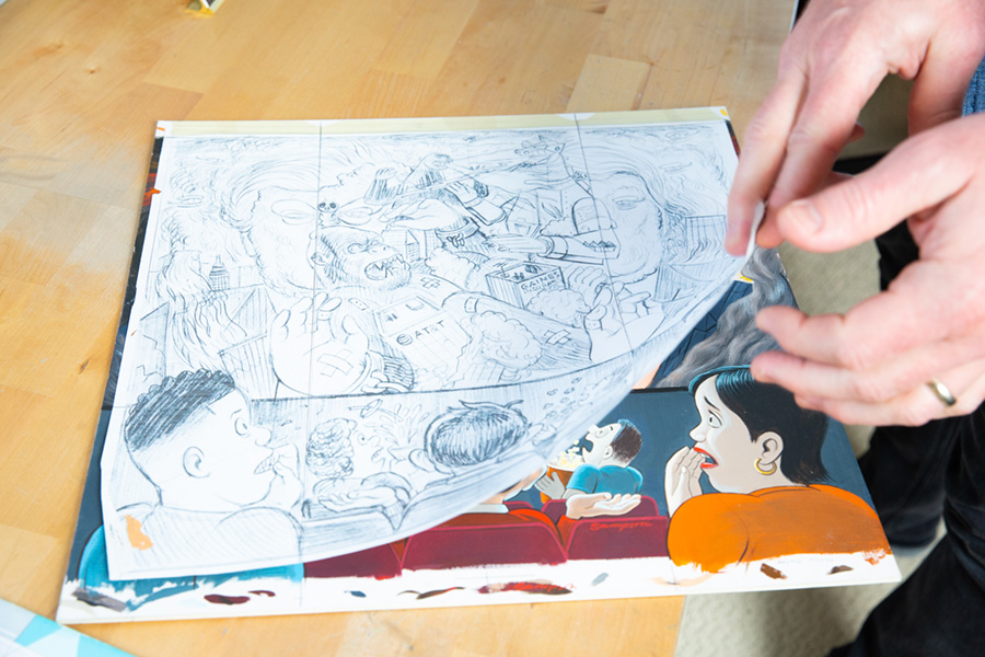 Fold-In art with final line art used for transferring to illustration board, <i>MAD</i> Vol. 2 #16