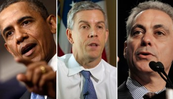University of Chicago Lab Schools parent Barack Obama, graduate Arne Duncan, and parent Rahm Emanuel