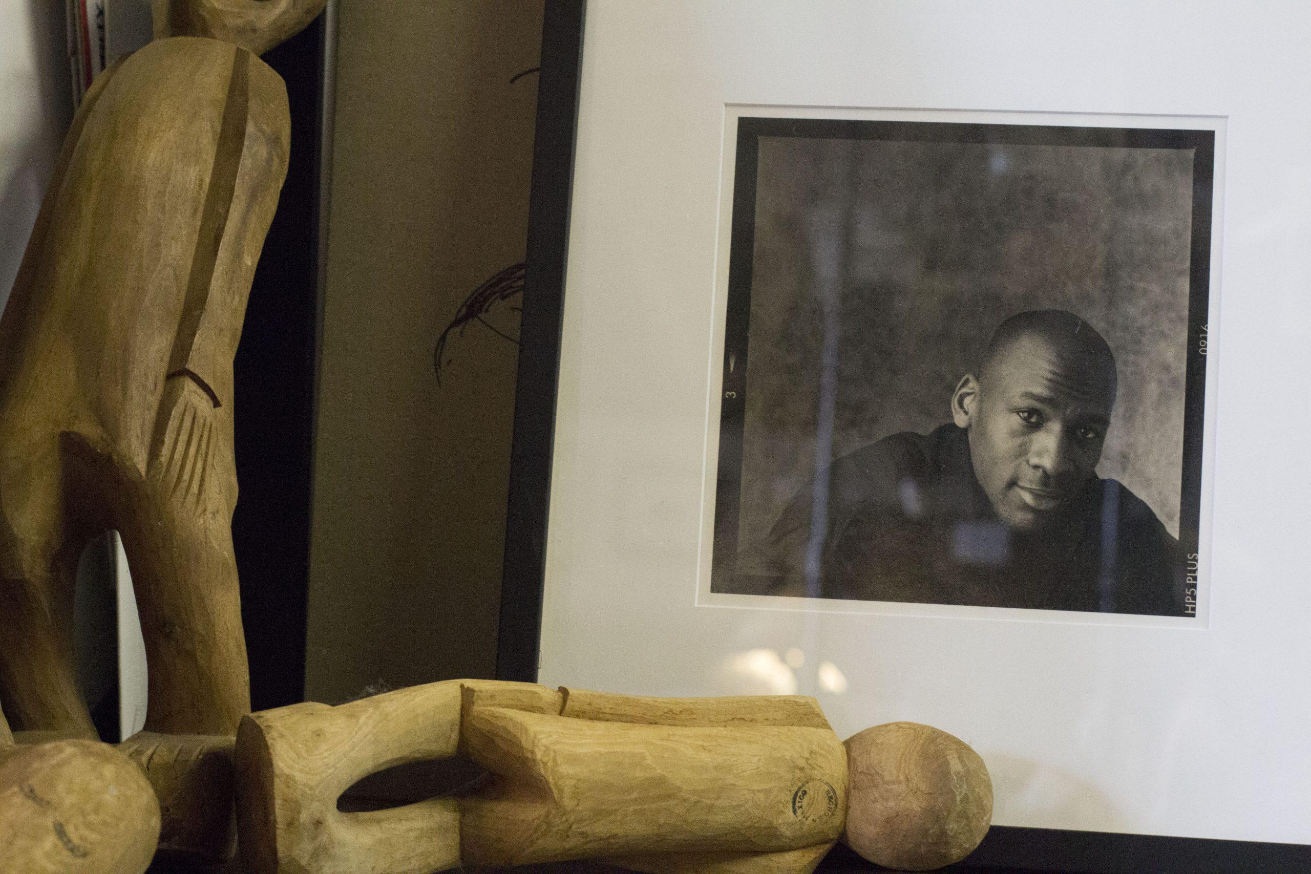 A portrait of Michael Jordan in Hauser's studio