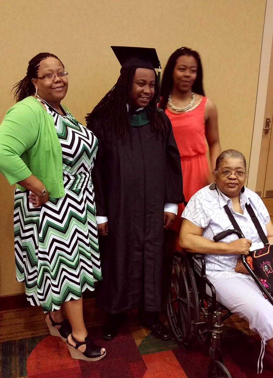 Tiffaney Boxley, Josh, Josh's sister in pink Aaliyah Boxley and Tiffaney Boxley's grandmother Deborah Wilson in wheel chair
